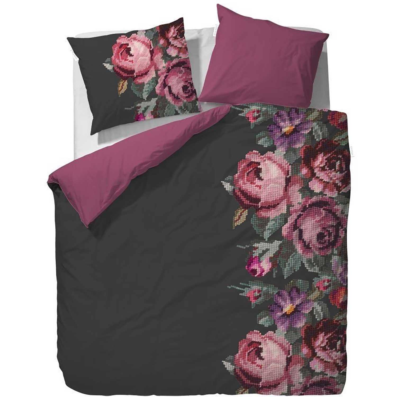 essenza baumwoll satin bettw sche aimee anthracite pink 135x200 80x80 ebay. Black Bedroom Furniture Sets. Home Design Ideas